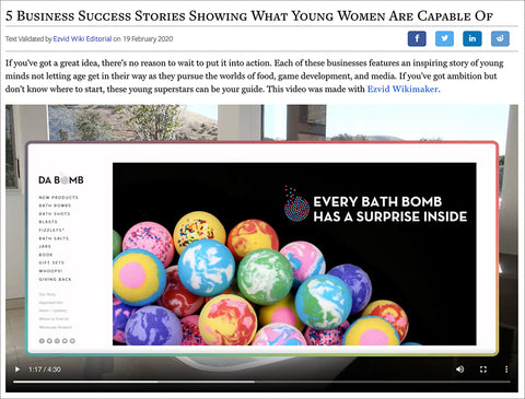 "Screen shot of Ezvid Wiki website with the video about ""5 Business Success Stories Showing What Young Women Are Capable Of"" paused."