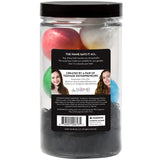 Amazeballs Jar with multi-color mini bath bombs and a black loofah, scented as mixed fruit.