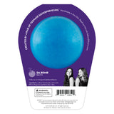 Back of Barbie blue bath bomb in packaging. Bath bomb is blue on the back.