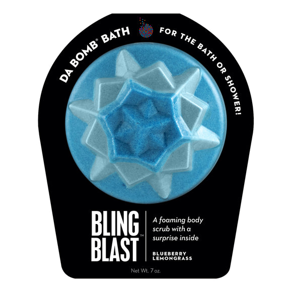 Light and dark blue Bling Blast with a surprise inside, scented as blueberry lemongrass.