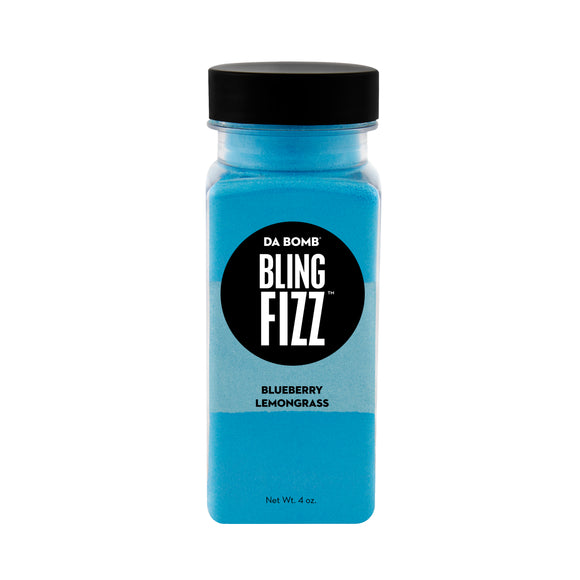 Small, clear plastic jar filled with color block blue, light blue and blue bath fizz that smells like blueberry lemongrass. Jar contains a fun surprise.