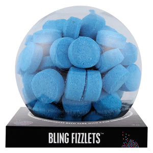 Blue Bling Fizzlets with a surprise inside, scented as blueberry lemongrass.
