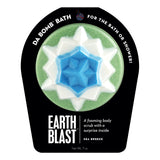 Green, white, and blue Earth Blast with a surprise inside, scented as sea breeze.