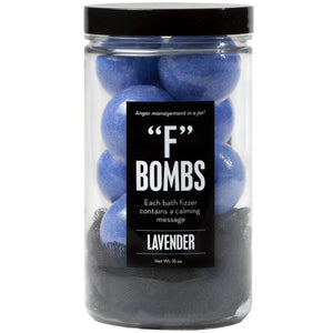 F Bombs Jar with mini purple bath bombs and black loofah, scented as lavender