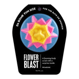 Blue, pink, and yellow Flower Blast with a surprise inside, scented as primrose.