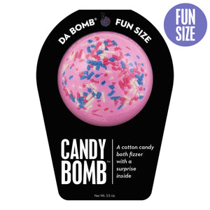 Pink with multi-color sprinkle Fun Size Candy Bomb with a surprise inside, scented as cotton candy.