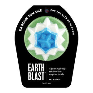Green, white and blue Fun Sized Earth Blast with a surprise inside, scented as sea breeze.