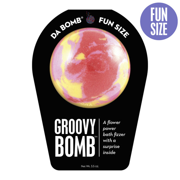 Red, yellow, and pink Groovy Bomb with a surprise inside, scented as flower power.