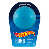 Blue bath bomb scented as blueberry in Hot Wheels packaging.