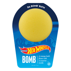 Yellow bath bomb, with a surprise inside, scented as mango in Hot Wheels packaging.