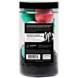 Back of Jolly Bombs Jar with holiday colored mini bath bombs scented as winterberry. Includes a black luffa.