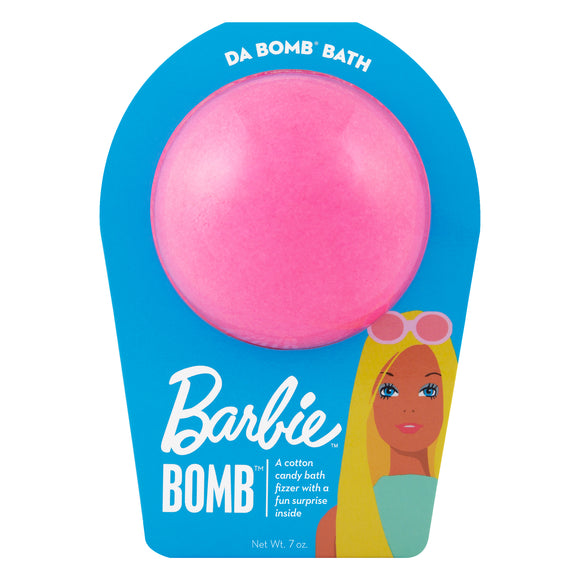 Pink bath bomb, with a surprise inside, scented as cotton candy in blue Barbie packaging. The packaging has Malibu Barbie printed on it.