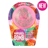 Pink with silver toppings bath bomb, with a surprise inside, scented as elderflower in margarita themed packaging.