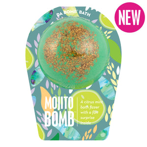 green with green toppings bath bomb, with a surprise inside, scented as citrus mint in mojito themed packaging.