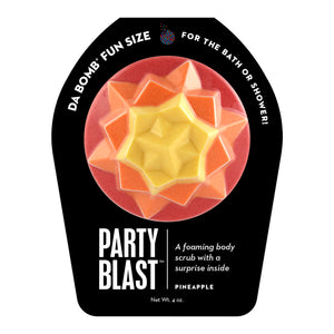 Red, orange, and yellow Fun Size Party Blast with a surprise inside, scented as pineapple.
