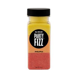 Small, clear plastic jar containing color block red, orange and yellow bath fizz that smells like pineapple. Contains a fun surprise.