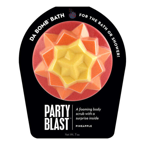 Red, orange, and yellow Party Blast with a surprise inside, scented as pineapple.