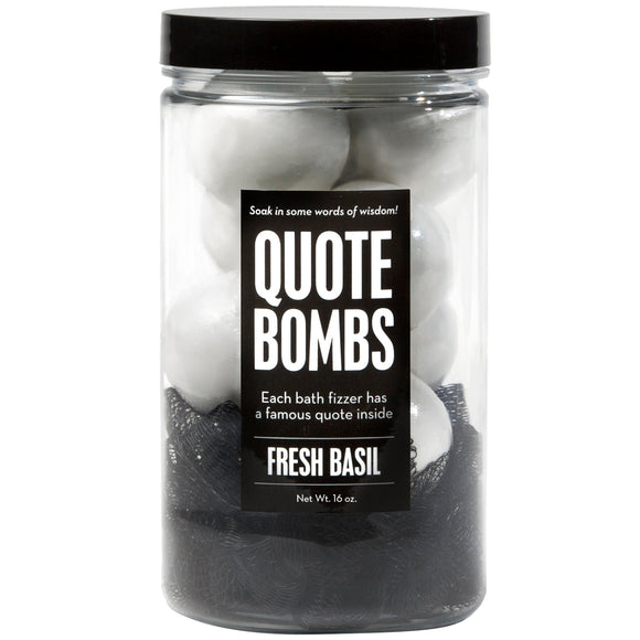 Quote Bombs Jar with white mini bath bombs and a black loofah, scented as fresh basil.
