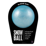 Shimmery blue Snow Ball bath bomb with a surprise inside scented as frosty fresh. Bath bomb in black packaging.
