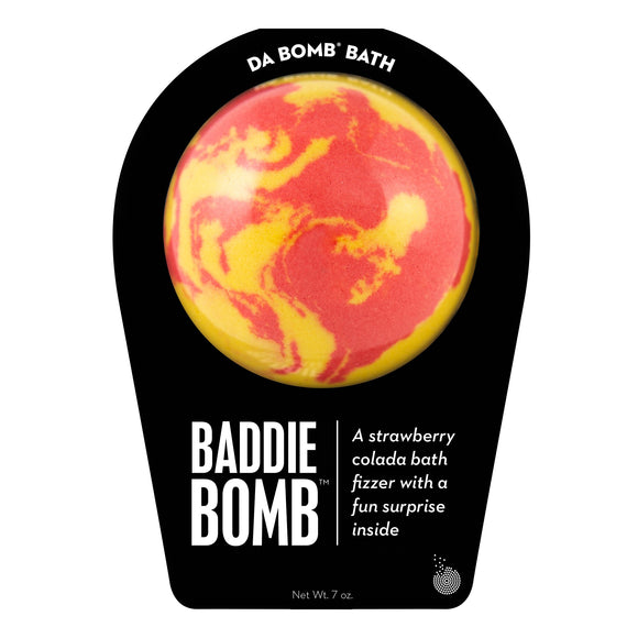 Yellow and red swirl baddie Bomb with a surprise inside, scented as strawberry colada in black packaging.