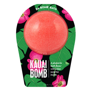 Red Kauai Bomb with a surprise inside, scented as plumeria in travel themed packaging.