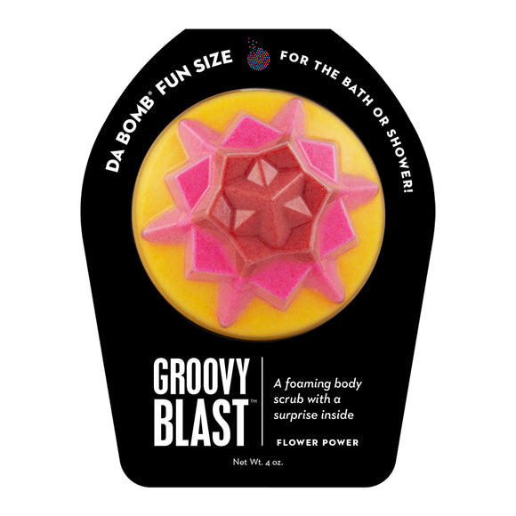 Red, pink, and yellow Fun Sized Groovy Blast with a surprise inside, scented as flower power.