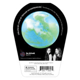 Back of earth bath bomb in packaging. Bath bomb is blue, green and white swirl on the back.