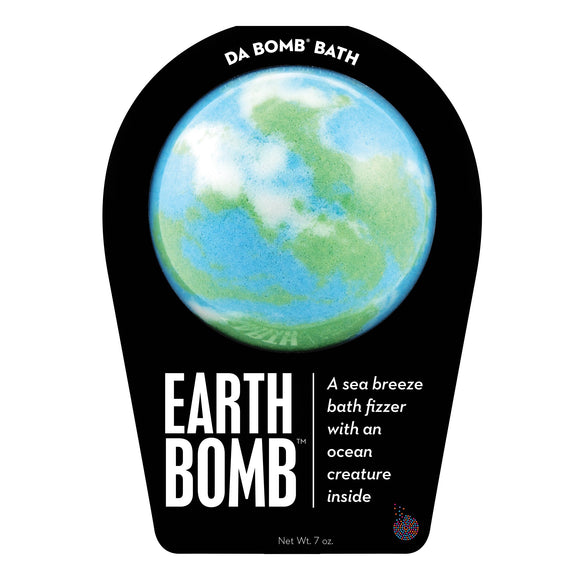 Bath bomb in colors of the earth called Earth Bomb with a surprise inside, scented as sea breeze.