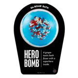 White and blue with red sprinkles Hero Bomb with a surprise inside, scented as grape.