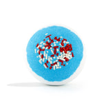 White and blue with red sprinkles Hero Bomb with a surprise inside, scented as grape without packaging.