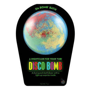 Multi-color Disco Bomb with light up surprise inside, scented as fruit punch.