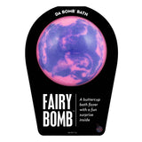 Pink and purple Fairy Bomb with a surprise inside, scented as buttercup.