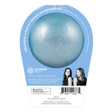 Back of Frozen II Elsa bath bomb in packaging. Bath bomb is light blue shimmer on the back.