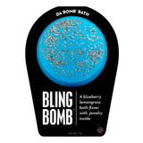 Blue with silver sprinkle Bling Bomb with a surprise inside, scented as blueberry lemongrass.