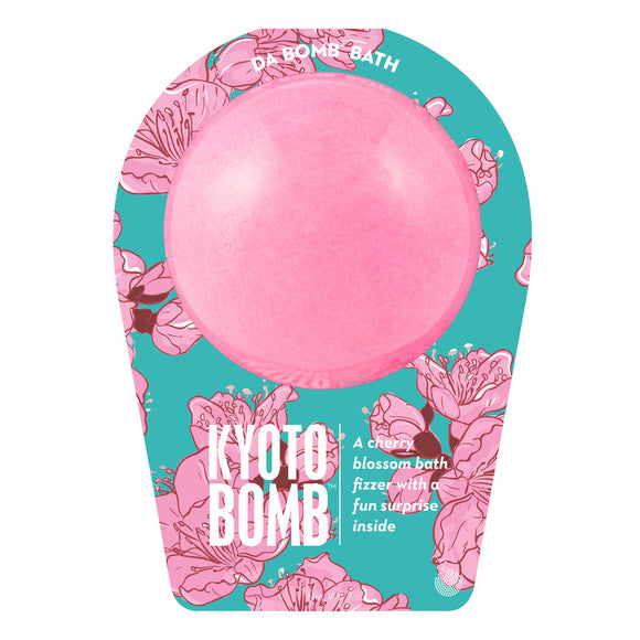 Pink Kyoto Bomb with a surprise inside, scented as cherry blossom in travel themed packaging.