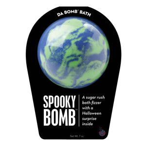 Purple and green Spooky Bomb with a surprise inside, scented as sugar rush.