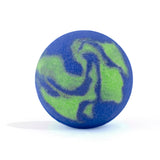Blue and green swirl Spooky Bomb on white background without packaging that smells like sugar rush.