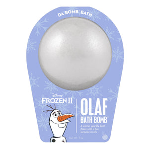 Frozen 2 Olaf bath bomb that is silver, white with mica and scented as winter sparkle.