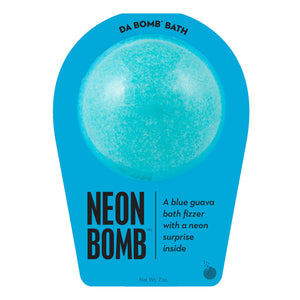 Neon blue bath bomb scented as blue guava in neon blue packaging.