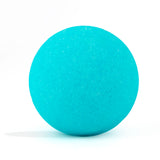 Neon blue bath bomb without packaging on white background and scented as blue guava.