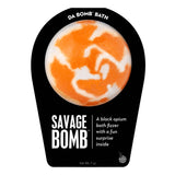 White and orange swirl savage Bomb with a surprise inside, scented as black opium in black packaging.