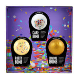 Gift box with party bomb, cake bomb, and treasure bomb.