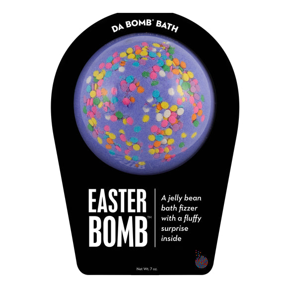 Purple with multi-color sprinkle Easter Bomb with a surprise inside.