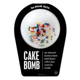 White with multi-colored sprinkles Cake Bomb with a surprise inside, scented as almond buttercream.