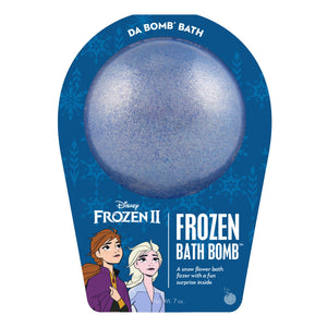 Frozen 2 Frozen bath bomb that is dark blue with mica and scented as snow flower.
