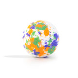 White with orange, green and purple splotches bath bomb, with a surprise inside, scented as hemp without packaging on white background.