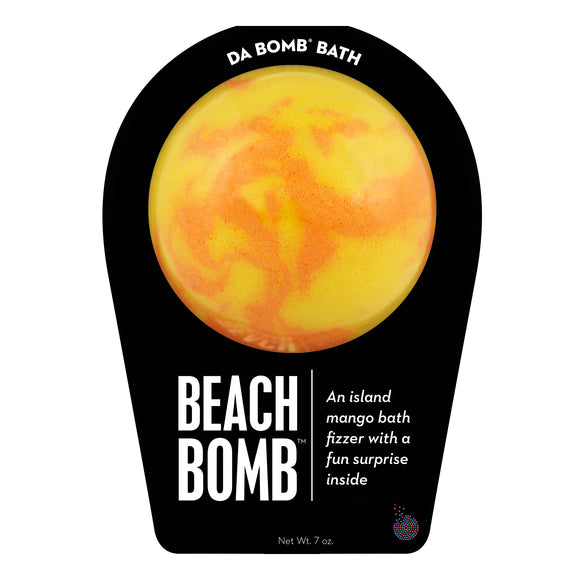 Orange and yellow Beach Bomb with a surprise inside, scented as island mango.