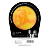 Back of Orange and yellow swirl Beach Bomb with a surprise inside, scented as island mango in black packaging.