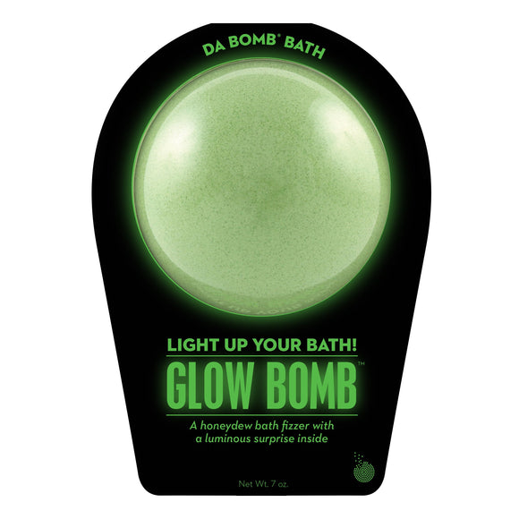 Green Glow Bomb with a light up surprise inside, scented as honeydew.