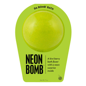 Neon green bath bomb scented as kiwi berry in neon green packaging.